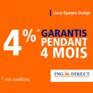 ING DIRECT : 4% garantis pendant 4 mois jusqu'à 120 000 euros