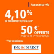 ING DIRECT : Assurance Vie à 4,10% de rendement net en 2010 + 50 euros offerts