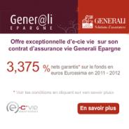 GENERALI EPARGNE : Assurance vie 3,375% nets garantis en 2011 – 2012