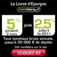 MONABANQ : 5% pendant 3 mois jusqu'à 30000 euros de dépôts