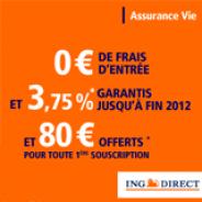 ING DIRECT : Assurance Vie à 3,75% nets garantis jusqu'à fin 2012 et 80 euros offerts