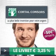 CORTAL CONSORS : 3,25% garantis pendant 1 an et 50 euros offerts