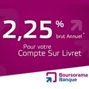 BOURSORAMA BANQUE : 2,25% brut par an pour le compte sur livret