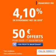 ING DIRECT : 4,10% nets en 2010 et 50 euros offerts pour toute 1ère souscription