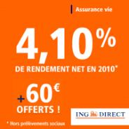 ING DIRECT : Assurance-vie 4,10 % et une prime de 60 euros