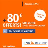 ING DIRECT : Assurance-Vie à 4,10% avec prime de 80 euros