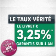 CORTAL CONSORS : Livret épargne à 3,25% garantis sur 1 an et jusqu'à 80 euros offerts