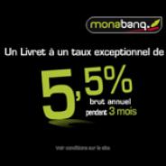 MONABANQ : Livret épargne à 5,5% brut annuel pendant 3 mois + 50 euros offerts