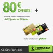 FORTUNEO : La carte bancaire MasterCard gratuite + 80 euros offerts !