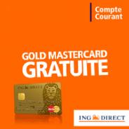 ING DIRECT : La carte bleue Gold Mastercard offerte sans condition de durée