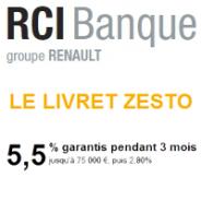 RCI Banque : Livret epargne ZESTO à 5,5% garantis pendant 3 mois