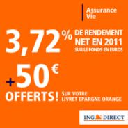 ING DIRECT : 50 euros offerts pour toute première souscription à un contrat d'assurance vie