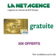 LA NET AGENCE : La carte bancaire + le compte courant gratuits et 50 euros offerts