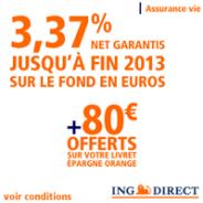 Assurance-vie ING Direct à 3,37% nets garantis + 80 euros offerts !