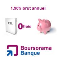 Compte sur Livret de Boursorama Banque dorénavant à 1,90% !