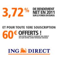 ING DIRECT : 60 euros offerts pour toute première ouverture d'une Assurance-vie