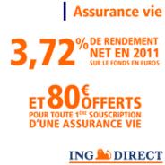 ING Direct Assurance-vie avec une prime de 80 euros offerts pour toute 1ère souscription