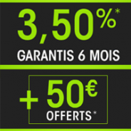 FORTUNEO : Taux promotionnel de 3,5 % pendant 6 mois dans la limite de 100 000 euros + 50 euros offerts !