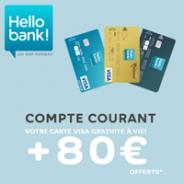Hello bank! offre 80 € et la Visa classique ou Visa Premier gratuite à vie !