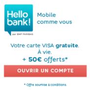 50€ offerts + la carte bancaire VISA gratuite à vie chez Hello bank!