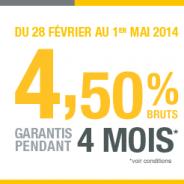 4,50% brut garantis pendant 4 MOIS jusqu'à 100 000€ de dépôt pour le Livret Epargne RCI BANQUE