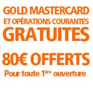 Ouverture de compte ING Direct : Carte Gold MasterCard gratuite + 80 € offerts + les opérations courantes gratuites !