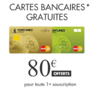 Fortuneo : Cotisation carte bancaire offerte + 80€ !