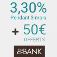 BforBank : 3,30% annuels bruts garantis pendant 3 mois + 50€ offerts !