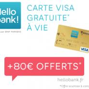 Hello bank! : carte VISA gratuite + 80 € + livret épargne à 3%