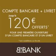 Carte bancaire gratuite + 80€ offerts pour toute ouverture d'un compte courant BforBank + 40€ pour l'ouverture d'un livret épargne