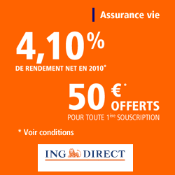 ing direct assurance vie 4 10 de rendement net en 2010 50 euros offerts ibanques. Black Bedroom Furniture Sets. Home Design Ideas